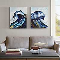 Liquid Waves Gel-Coated Canvas Art Print, Set of 2