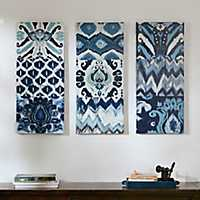 Ikat Gel-Coated Canvas Art Prints, Set of 3