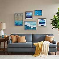 Water Tide Framed Canvas Art Prints, Set of 5