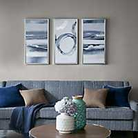 Abstract Gray Framed Canvas Art Prints, Set of 3