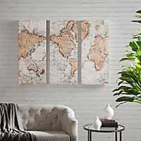 Map of the World Canvas Art Prints, Set of 3