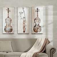 Violin Study Canvas Art Prints, Set of 3