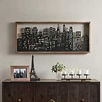 Metal Skyline Framed Wall Plaque