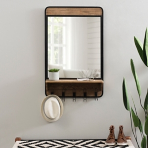 Industrial Wooden Wall Mirror With Shelf And Hooks Kirklands
