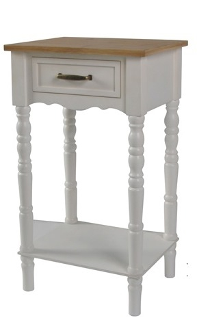 White Auria Scalloped Wood Top Accent Table