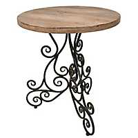 Theresa Metal Scroll with Wood Top Accent Table