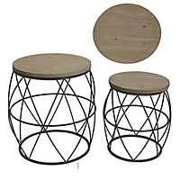 Kenna Metal and Wood Top Accent Tables, Set of 2