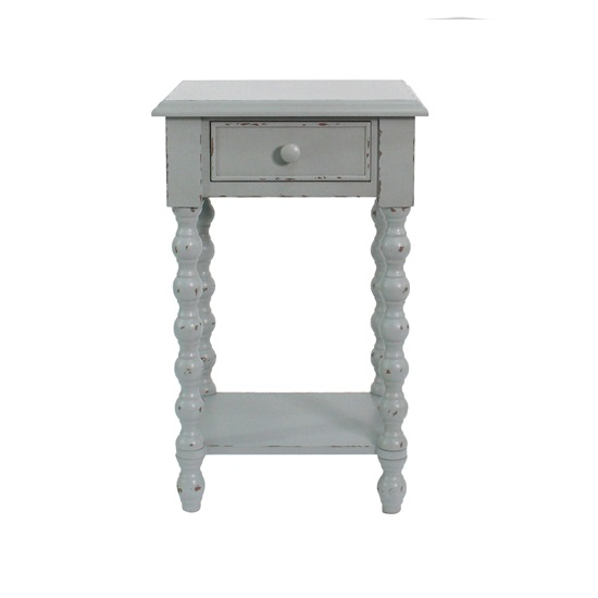 Omari Blue Twisted Legs Side Table With Drawer