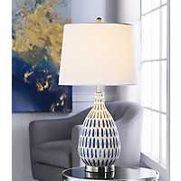 Blue Off-White Ceramic and Steel Table Lamp