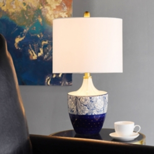Blue And Gold Floral Hand Painted Table Lamp Kirklands