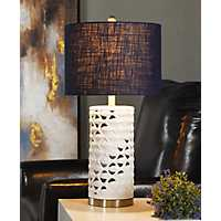 White School of Fish Open Work Table Lamp
