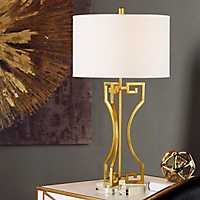 Greek Key Table Lamp with Crystal Base
