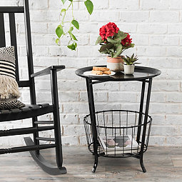 664661927b2 Black Side Table with Basket Bottom
