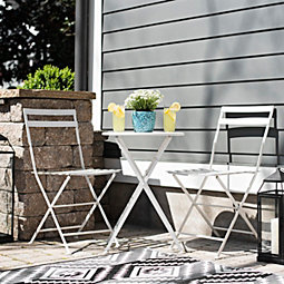 White Metal Table And Chairs 3 Pc Bistro Set
