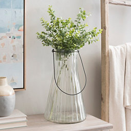 Clear Ribbed Glass Vase with Handle