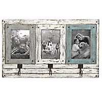 Rustic 3-Opening Collage Frame with Hooks