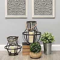 Metal Cage Lanterns with Rope Handles, Set of 2