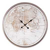 Rustic Antique Silver Wall Clock with Map