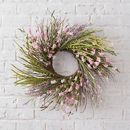 Bright Pink Berry and Hops Wreath