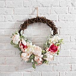 Pink Peony and Lamb's Ear Half Wreath