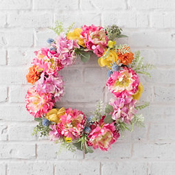 Pink Peony and Thistle Wreath
