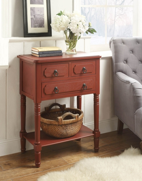 Red Deliah 3 Drawer Chest