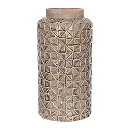 Sage Embossed Geometric Ceramic Vase