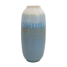 Blue and White Ombre Tiled Vase