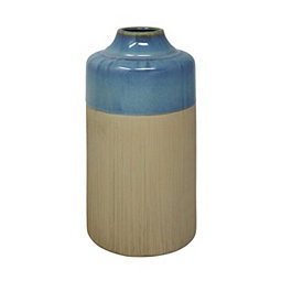 Blue and Ivory Colorblock Ceramic Vase