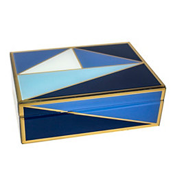 Blue and Gold Geometric Glass Decorative Box