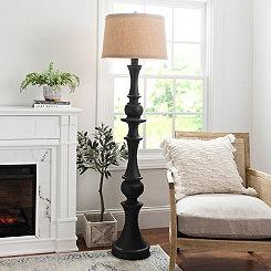 Black Wood Laney Floor Lamp