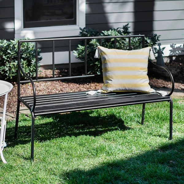 Black Wood And Metal Outdoor Bench