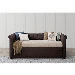 Kasey Dark Gray On Tufted Twin Trundle Daybed