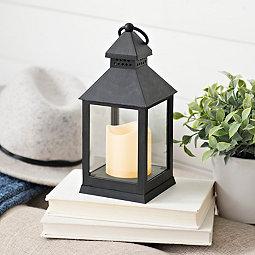 Black Plastic Lantern with LED Candle