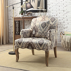 Ikat Curved Back Accent Chair With Pillow
