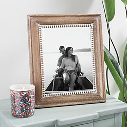 Rustic Brown Bead Accent Picture Frame, 8x10