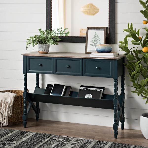 Blue Sydney Spool Leg Console Table