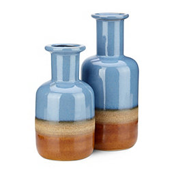 Blue and Tan Adobe Vases, Set of 2