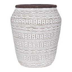 White and Tan Aztec Cement Vase