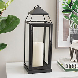 Black Rectangular Metal and Glass Lantern