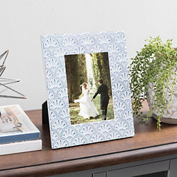 Blue Embossed Coastal Shell Picture Frame, 5x7