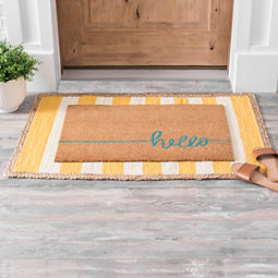 Yellow Stripe Scatter Rug With Jute Trim