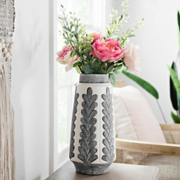 Gray And Cream Long Leaf Print Ceramic Vase