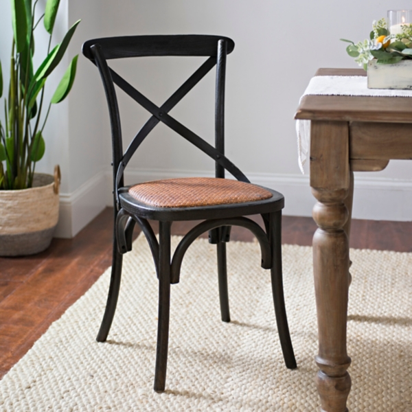 Burnt Wood X Back Rattan Seat Dining Chair