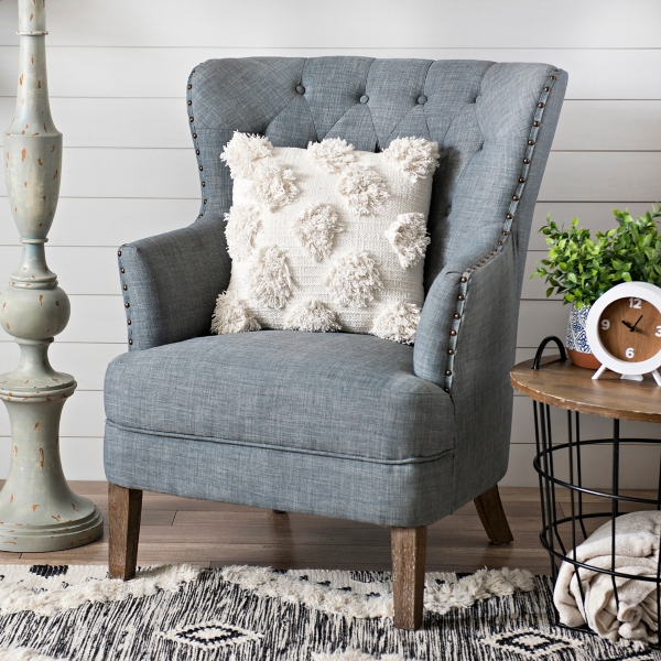 Gray Tufted Accent Chair With Nailhead Trim