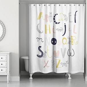 Animal Alphabet Kids Shower Curtain