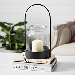 Black Oval Handle Lantern with Glass Hurricane