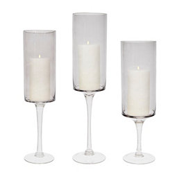Smoke Stemmed Glass Candle Holders, Set of 3