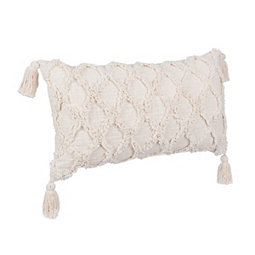 Ivory Slub Tufted Accent Pillow