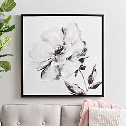 15f0bf31993 Black and White Floral Watercolor Framed Art Print